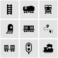 Vector black railroad icon set Royalty Free Stock Photo