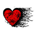 Vector black and red graphic illustration of sign of heart with ink blot Royalty Free Stock Photo