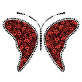 Vector black and red ornamental decorative illustration of butterfly Royalty Free Stock Photo