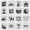 Vector black religion icons set Stock Image
