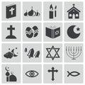 Vector black religion icons Royalty Free Stock Photo