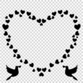 Vector black retro heart shaped photo frame of hearts with pigeons silhouette Royalty Free Stock Photo