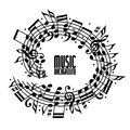 Vector black rounded stave with musical notes on white background, decorative musical notation.