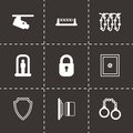 Vector black security icons set Royalty Free Stock Photo