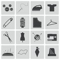 Vector black sewing icons set Royalty Free Stock Image