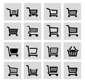 Vector black shopping cart icon set this is file of eps format Royalty Free Stock Photos