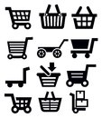 Vector black shopping cart icon set on white Stock Photography