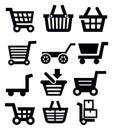 Vector black shopping cart icon set on white Stock Photography