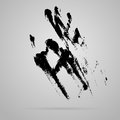 Vector black smeared hand imprint