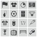 Vector black soccer icons set Stock Images