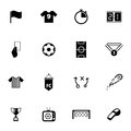 Vector black soccer icons set on white background Stock Photography