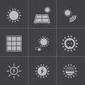 Vector black solar energy icons set this is file of eps format Stock Image