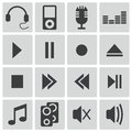 Vector black sound icons set Royalty Free Stock Image