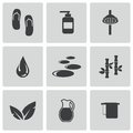 Vector black spa icons set on white background Royalty Free Stock Image