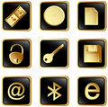 Vector black square web buttons set 3 Stock Photo