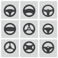 Vector black Steering wheels icons set Royalty Free Stock Photo