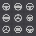 Vector black steering wheels icons set this is file of eps format Stock Image