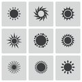 Vector black sun icons set this is file of eps format Royalty Free Stock Photo