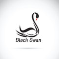 Swan icon in black style isolated on white background. Bird pattern stock vector illustration.