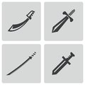 Vector black sword icons set on white background Royalty Free Stock Photography