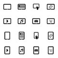 Vector black tablet icons set on white background Stock Image