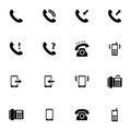Vector black telephone icons set on white background Stock Photos
