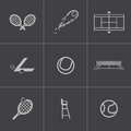 Vector black tennis icons set this is file of eps format Stock Photography