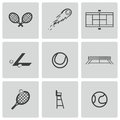 Vector black tennis icons set on white background Stock Image