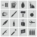 Vector black terrorism icons set Royalty Free Stock Photo