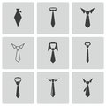 Vector black tie icons set on white background Royalty Free Stock Photos