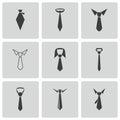 Vector black tie icons set on white background Royalty Free Stock Photos
