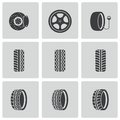 Vector black tire icons set this is file of eps format Royalty Free Stock Photo