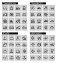Vector black transport icons set this is file of eps format Royalty Free Stock Image