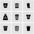 Vector black trash can icon set Royalty Free Stock Photo