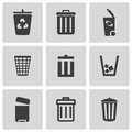 Vector black trash can icons set Royalty Free Stock Photo