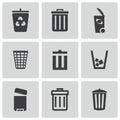 Vector black trash can icons set Royalty Free Stock Photo