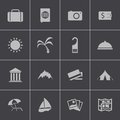 Vector black travel icons set this is file of eps format Stock Photography