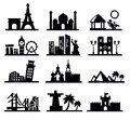 Vector black travel landmarks icons set Stock Photos
