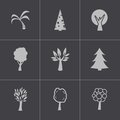 Vector black trees icons set this is file of eps format Stock Photography