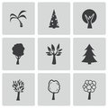 Vector black trees icons set on white background Royalty Free Stock Image
