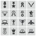 Vector black trophy and awards icons set Royalty Free Stock Photography