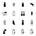 Vector black usb icons set on white background Stock Photography