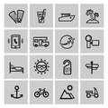 Vector black vacation travel icon set this is file of eps format Stock Photo