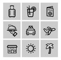Vector black vacation travel icon set this is file of eps format Royalty Free Stock Photo
