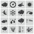 Vector black weather icons set Royalty Free Stock Images