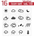 Vector black weather icons set Royalty Free Stock Photo