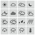 Vector black weather icons set Stock Photos