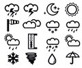 Vector black weather icons set on white Stock Photo