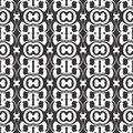 Vector Black and white abstract kaleidoscope freestyle design, seamless pattern or design
