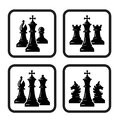 Vector black and white chess piece set icons for logo design Royalty Free Stock Photo